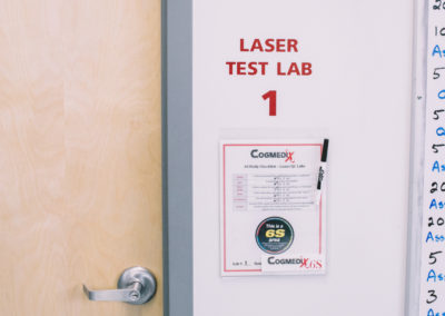 Class 4 laser testing labs: Cogmedix is equipped with several laser testing labs overseen by a certified laser safety officer (LSO) who has undergone extensive training.