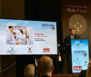 cogmedix acceptance speech at WBJ manufacturing excellence summit